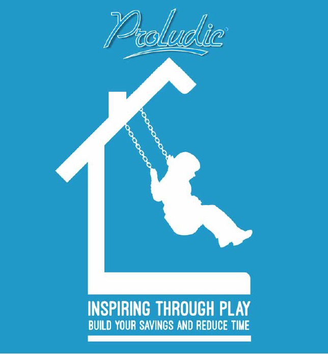 Proludic Inspiring Through Play Campaign Housebuilders Build Your Savings and Reduce Time White on Blue Child Swinging Graphic Cover